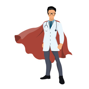 Cartoon super hero doctor with red cape.