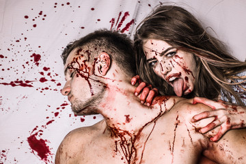 Bloody halloween couple in love.
