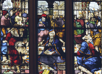 Deurstickers Imagination Interiors of Lichfield Cathedral - Stained Glass in Lady Chapel S3 - The Last Judgement Close up B
