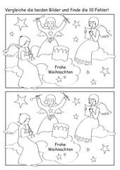 Winterliches Fehlerbild mit Engeln, Sternen und Musik.
