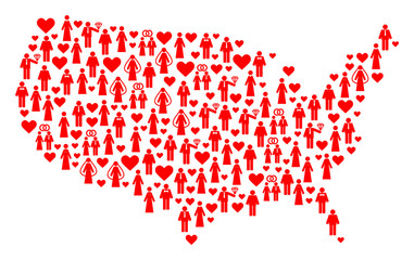 Collage map of USA designed with red lovely persons. Vector lovely geographic abstraction of map of USA with red romantic symbols. Romantic flat design for dating applications.