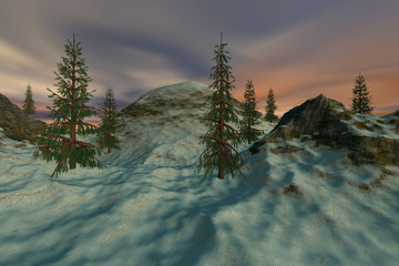 Beautiful trees, a natural landscape, snow on the ground and colored clouds in the sky.