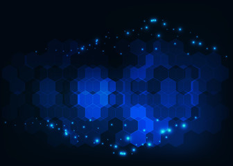 Abstract futuristic science background with hexagonal molecules structure and glowing atoms.