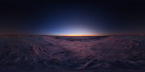 Sunset Over Snow Covered Ground, Ukhta, Russia