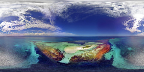 Aerial View Of Lagoon Isle, Ilot Mbe Kouen, New Caledonia