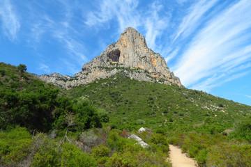 Marvellous landscape with mountain peak seen from the hiking path near Pedra Longa, Baunei, Sardinia, Italy