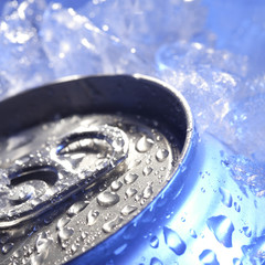drink can iced submerged in frost ice, metal aluminum beverage