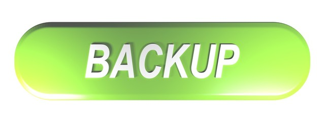 Green rounded rectangle push button BACKUP - 3D rendering