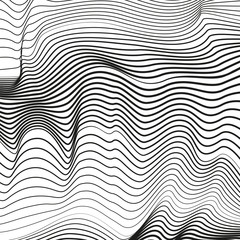 Abstract black and white background. Optical illusion, deformed surface. Vector squiggle, broken lines. Chaotic striped, waving pattern. EPS10 illustration