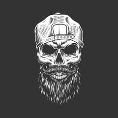 Vintage monochrome hipster skull in cap