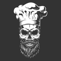 Vintage monochrome skull in chef hat