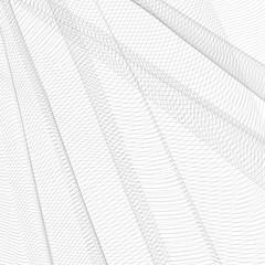 Abstract creased network. Gray undulating subtle lines, curves. Vector monochrome striped background. Line art pattern, textile, net, mesh textured effect. EPS10 illustration