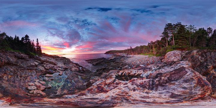 Dawn On The Rocky Coast, Bar Harbor, Maine, United States