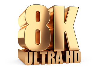 8K Ultra HD sign. Highest definition TV resolution.
