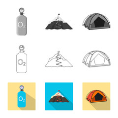 Isolated object of mountaineering and peak sign. Collection of mountaineering and camp vector icon for stock.