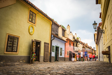 View of the Golden Lane (Famous street in the castle of Prague)