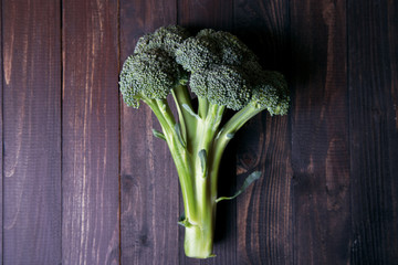 Broccoli on wooden background
