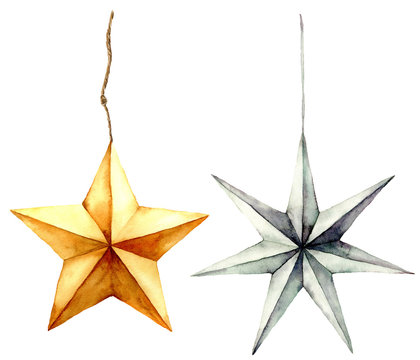 Watercolor stars decoration. Hand painted gold and silver stars isolated on white background. Christmas toys. Holiday modern decor illustration.