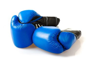 Pair of Blue Boxing Gloves Isolated on White