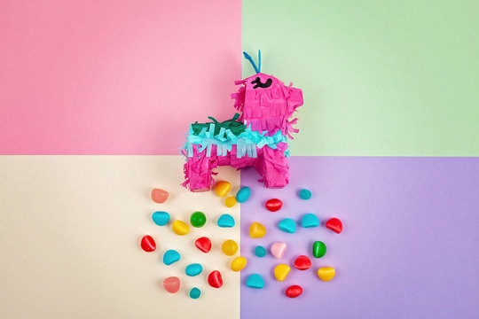 Pinata traditional Mexican paper party piece. Filled with candies for celebrating anniversaries, birthdays