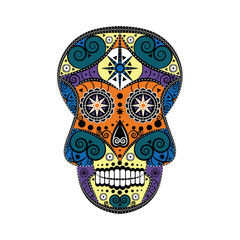 Colourful design of Mexican sugar skull Halloween and Day of the Dead symbol with floral, swirly and geometric elements
