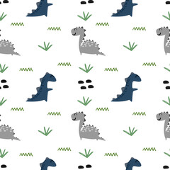 Baby Dinosaur Seamless Pattern Colorful Vector Illustration white Background
