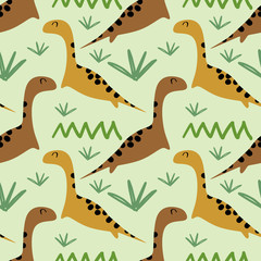 Seamless dino pattern with children drawing style for baby and kids.
