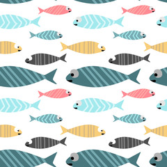 Baby fish Seamless Pattern Colorful pastel colors vector illustration Background