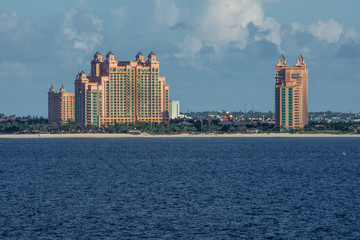 beautiful vacation resort buildings in the bahamas on a clear sunny morning