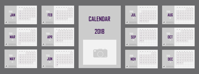 Business Calendar set 2019 vector illustration. Layers grouped for easy editing illustration. For your design