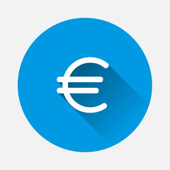 Vector  of the euro sign icon on blue background. Flat image  euro icon with long shadow.  Layers grouped for easy editing illustration. For your design.