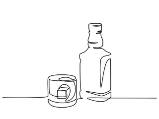Continuous one line drawing. Bottle and glass of whiskey with ice. Vector illustration Fototapete