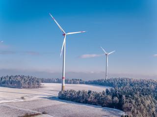 4K Drone aerial Windpark, Windmill, German winter landscape