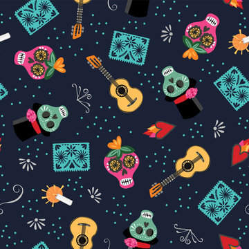 Colorful Day of the Dead seamless vector pattern. Lively multidirectional design with Mexican skulls, guitar and flaming heart. Dark navy blue background with teal, orange and pink.