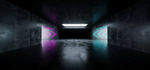 Modern Futuristic Sci Fi Empty Grunge Concrete Reflective Garage Tunnel Underground Room With Arrow Shaped Neon Purple And Blue Lights 3D Rendering