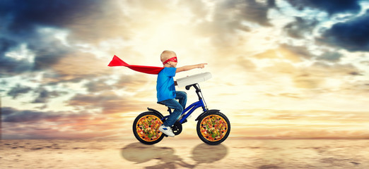 The superhero delivers pizza.Fast delivery.