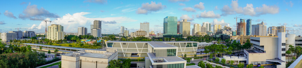 Wide Aerial Panoramic Photo Miami Urban Central Skyline South Florida