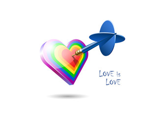 Love is Love. Valentine's day greeting card. Realistic blue dart hits the center of a rainbow heart. The symbol of gay culture. Vector illustration.