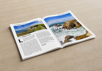 Open Magazine on Wooden Surface Mockup