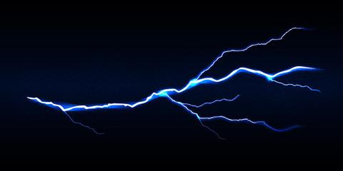 Blue vector lightning bolt on black background, isolated vector illustration.