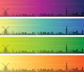 Amsterdam Multiple Color Gradient Skyline Banner