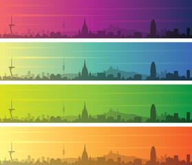 Barcelona Multiple Color Gradient Skyline Banner