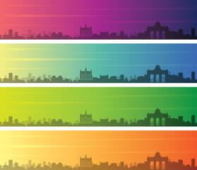 Brussels Multiple Color Gradient Skyline Banner