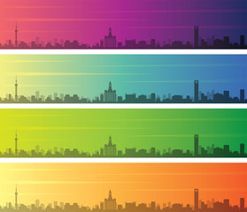 Shanghai Multiple Color Gradient Skyline Banner