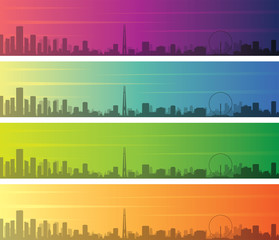 Singapore Multiple Color Gradient Skyline Banner