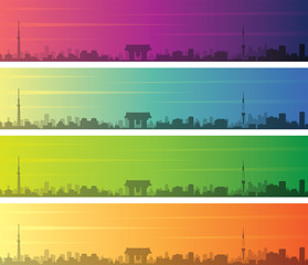 Tokyo Multiple Color Gradient Skyline Banner