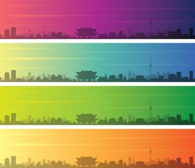 Seoul Multiple Color Gradient Skyline Banner