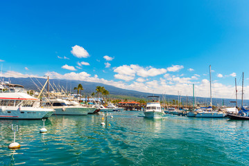 HAWAII, USA - FEBRUARY 18, 2018: View of yachts in the city port. Copy space for text.