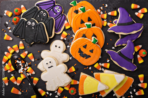 Halloween cookies decorated with royal icing