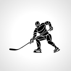 Hockey player abstract silhouette vector illustration eps8